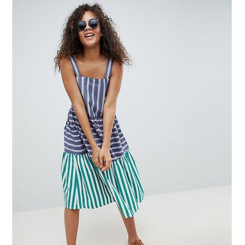 Asos tall Asos design tall stripe midi tiered sundress - multi