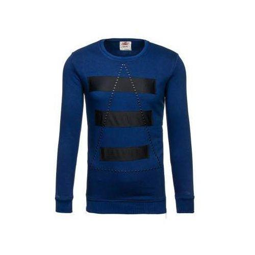 Bluza męska bez kaptura z nadrukiem granatowa Denley 9102, kolor niebieski