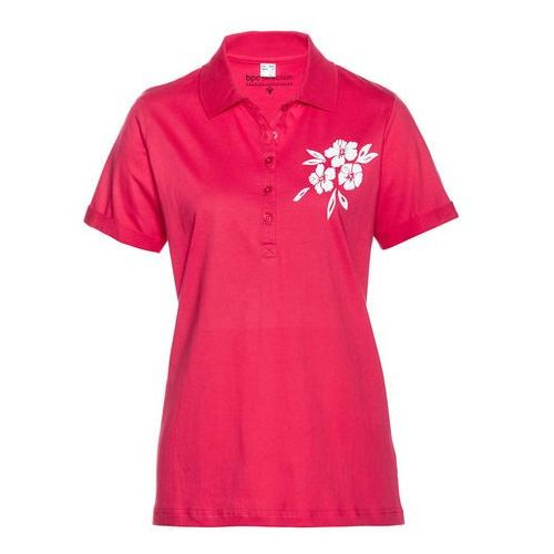 Shirt polo różowy hibiskus - biały marki Bonprix
