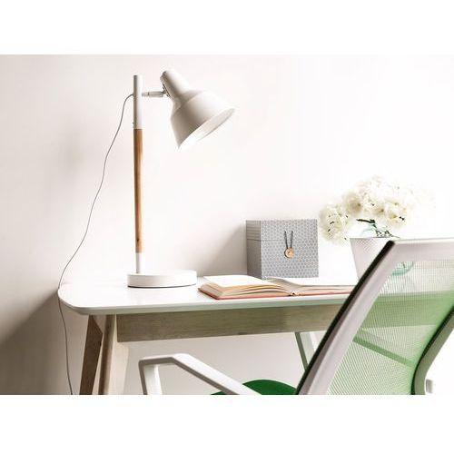 Lampa biurkowa nocna drewno regulowana biała ALDAN (4260580929634)