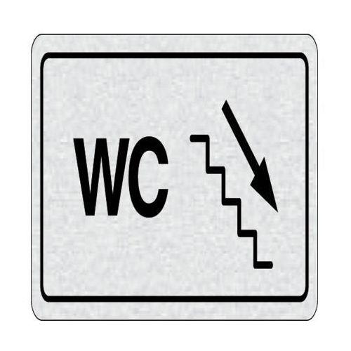 B2b partner Tabliczka na drzwi -wc na prawo, schodami na dół