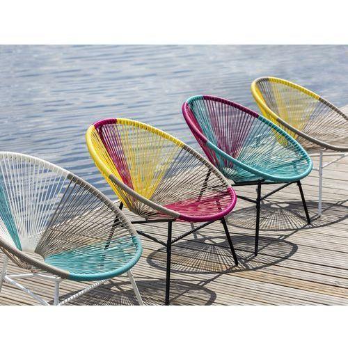 Beliani krzesło rattanowe biało-beżowo-turkusowe acapulco