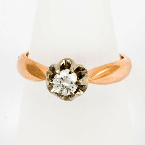 Złoty pierścionek z diamentem P1549, kolor żółty
