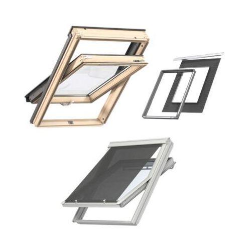 Zestaw Okno dachowe VELUX GLL 1061B MK08 78x140 3-szybowe + Rama izolacyjna + Markiza uniwersalna