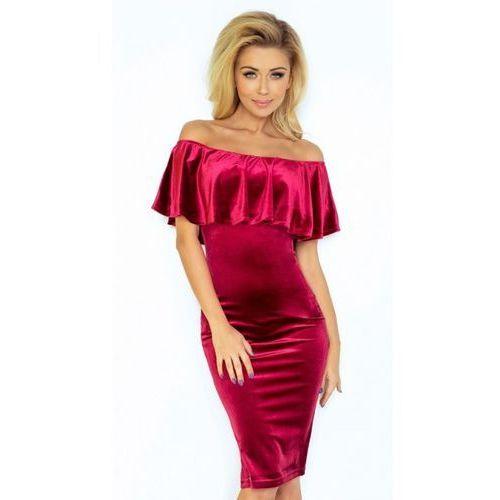 Numoco Sukienka velvet s burgund