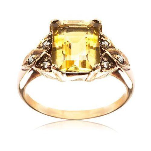 Kolekcja Wiktoriańska - pierścionek z diamentami i cytrynem