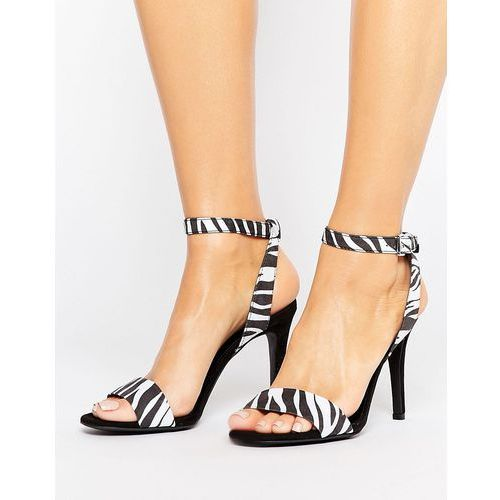 suedette barely there zebra heeled sandal - black, New look