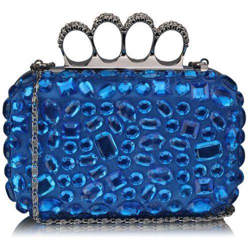 Niebieska torebka wizytowa szkatułka z kryształkami - niebieski, kolor niebieski