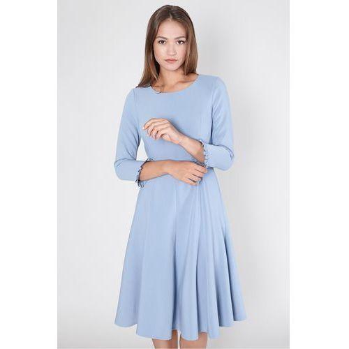 Click fashion Sukienka z falbaną przy rękawie -