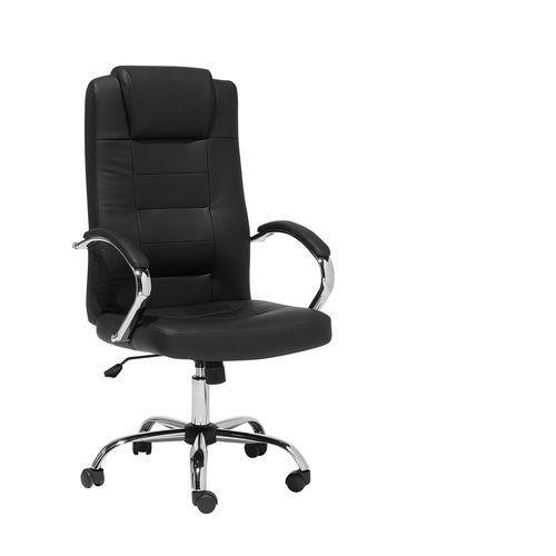 Fotel biurowy czarny - z masażem, chromowany krzyżak - sztuczna skóra - diamond ii marki Beliani