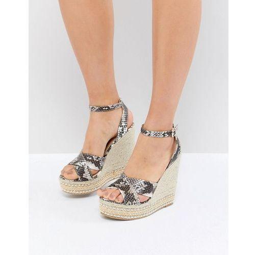 Glamorous Snake Print Studded Wedge Sandals - Multi