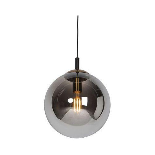 Lampa wisząca art deco czarna przydymione szkło 30cm - Pallon Bulla