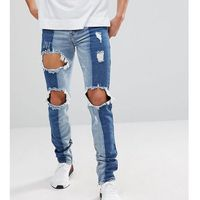 Sixth june muscle fit jeans in midwash blue with contrast panels - blue