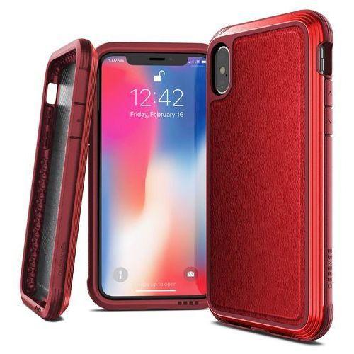 X-doria defense lux - etui aluminiowe iphone xs / x (drop test 3m) (red leather) (6950941474511)