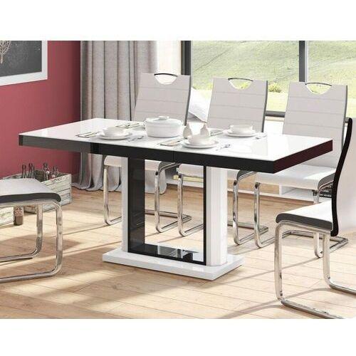 Stół rozkładany QUADRO 120-168 Biało-czarny połysk, HS-0096