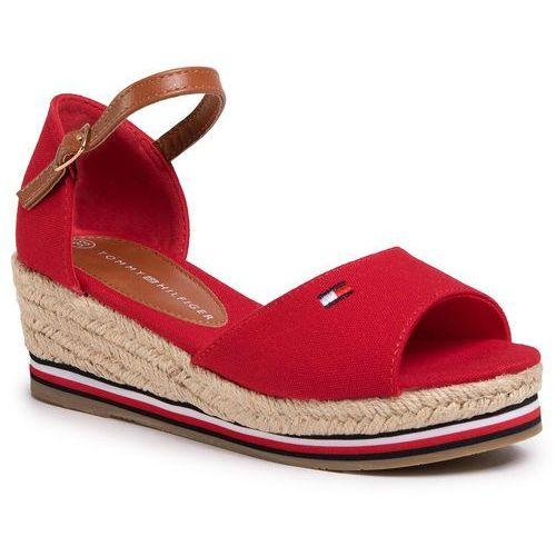 Espadryle TOMMY HILFIGER - Rope Wedge Sandal T3A2-30658-0048 Red 300, kolor czerwony