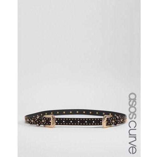 studded double buckle western waist and hip belt - black, marki Asos curve