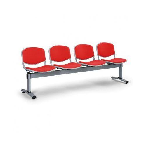 Ławka do poczekalni livorno, tapicerowana 4 siedzenia, czerwony marki Euroseat