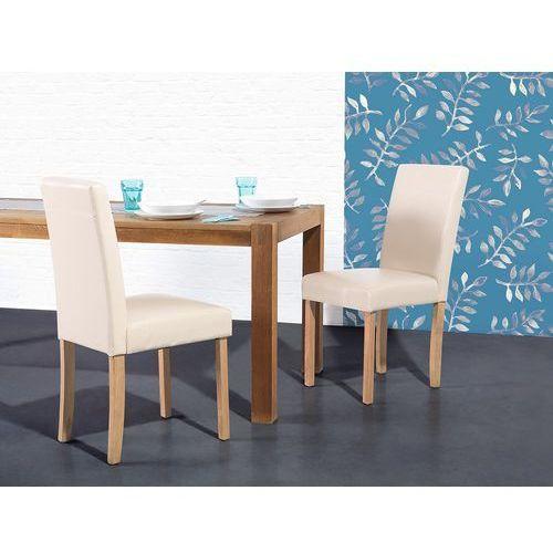 Krzesło beżowe - do jadalni - kuchenne - tapicerowane - broadway marki Beliani