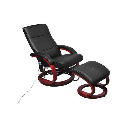 vidaXL Fotel masujący ze sztucznej skóry z podnóżkiem, czarny