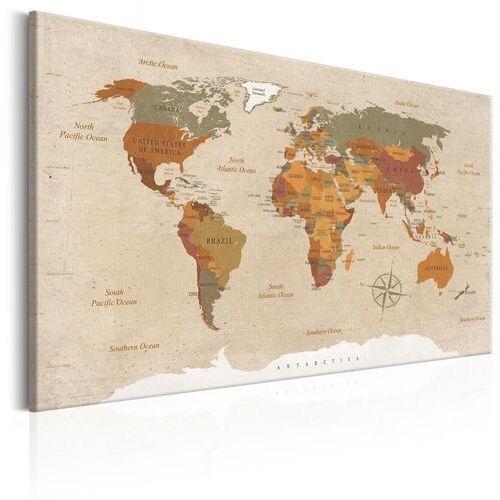 Obraz - Mapa świata: Beżowy szyk