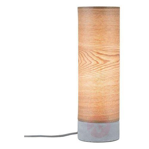 Paulmann Drewniana lampa stołowa skadi z betonową podstawą