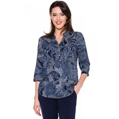 Bluzka w kwiatowe wzory z rękawem 3/4 - Duet Woman, kolor niebieski
