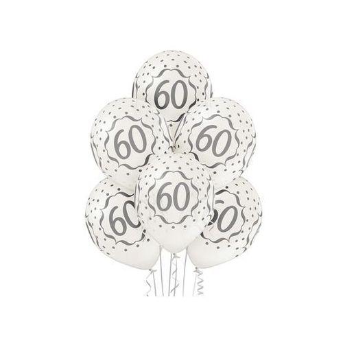"""Balony metaliczne z nadrukiem """"60"""" - 12 cali - 6 szt."""