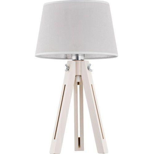 Lampa lampka drewniana z abażurem oprawa stołowa TK Lighting Lorenzo 1x60W E27 biała 2975, 2975
