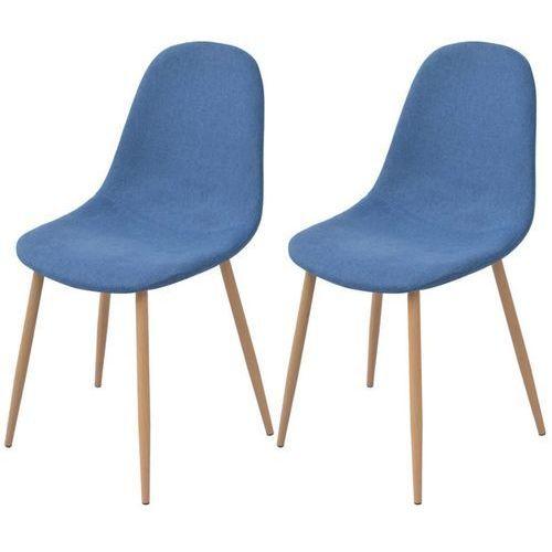 Krzesło do jadalni 2 szt., tapicerowane tkaniną, niebieską, kolor niebieski