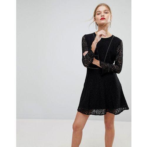 Mango Long Sleeve Lace Dress - Black