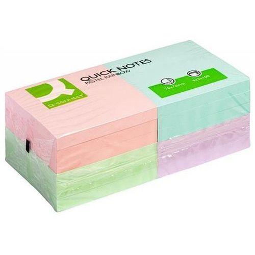 Karteczki Q-CONNECT Rainbow, 76x76mm, 4x3x80k, pastel, mix kolorów (5706002105099)