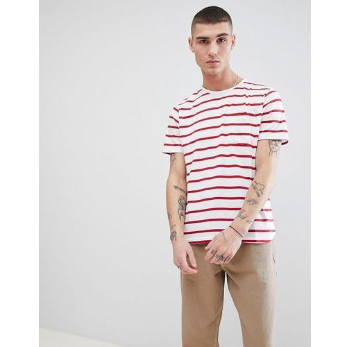 fitted stretch curved hem t-shirt - red, Another influence, XS-L