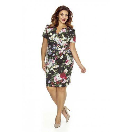 822c5d69a2 Elegancka Sukienka w Kwiaty Plus Size z Założeniem Kopertowym