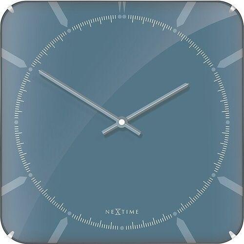 Zegar ścienny Michael Square Dome niebieski, 3172
