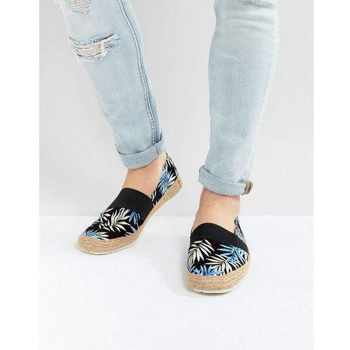 espadrilles with palm print in black - black, River island