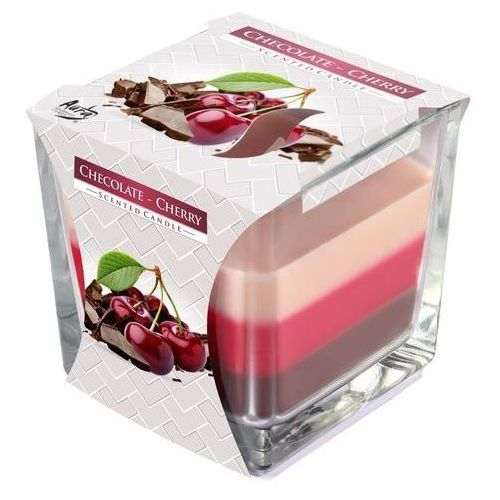 Bispol, świeca zapachowa trójkolorowa w szkle, czekolada i wiśnia, 1 sztuka (5906927281049)