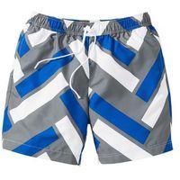 Długie szorty plażowe Regular Fit bonprix lazurowo-szaro-biały wzorzysty, kolor niebieski
