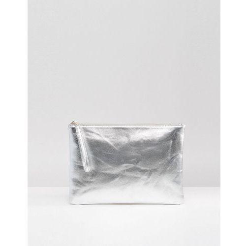 South Beach Metallic Clutch Bag - Silver, kolor szary