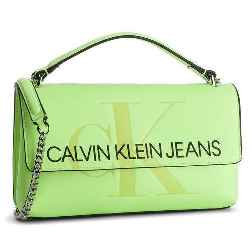 Torebka CALVIN KLEIN JEANS - Sculpted Monogram E/W Flap K60K605523 070, kolor zielony