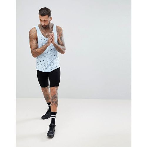 Religion Longline Vest In Blue With Curved Hem And Distressing - Blue