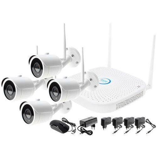 Zestaw do monitoringu bezprzewodowy wifi ip: rejestrator sieciowy 4 kanałowy ip, 4x kamera ip fullhd, akcesoria marki Ivelset