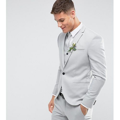 Noak Skinny Wedding Suit Jacket in Pale Grey - Grey, kolor szary