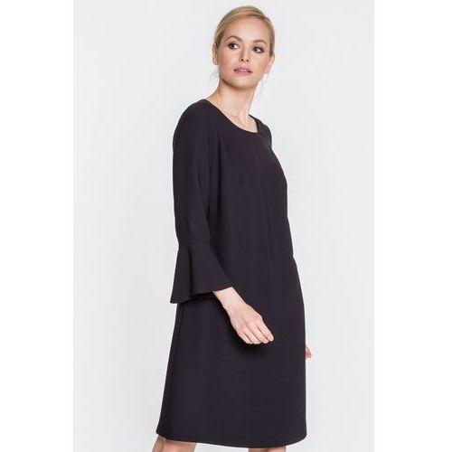 Antracytowa, tłoczona sukienka - Vito Vergelis, kolor czarny