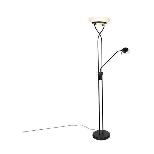 Lampa podłogowa czarna z diodą led i ściemniaczem z lampką do czytania - empoli marki Qazqa