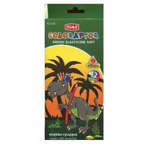 Toma Kredki elastyczne soft 12 kolorów miękko rysujące coloraptor (5901133554031)