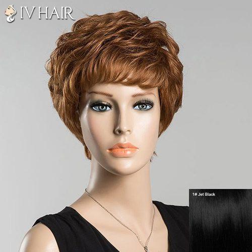 Sammydress Short bouncy full bang curly siv human hair wig