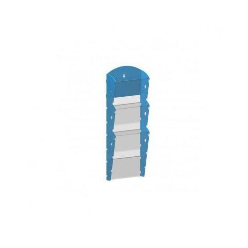 Plastikowy uchwyt ścienny na ulotki - 1x3 A4, niebieski