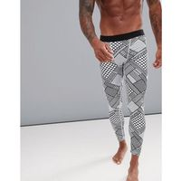 ASOS 4505 running tights with geo aztec print - White, kolor biały