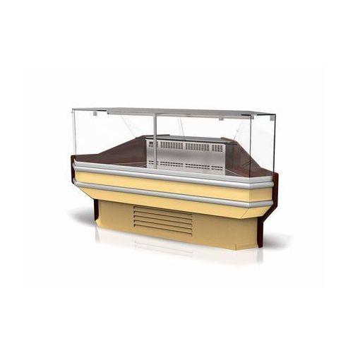 Lada chłodnicza narożna zewnętrzna z szybą prostą, pionową, blatem ze stali nierdzewnej (płótno), 1070x1220 mm | RAPA, F NZ/107